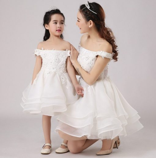 Off-shoulder Mommy and Me Wedding Matching Dress 1