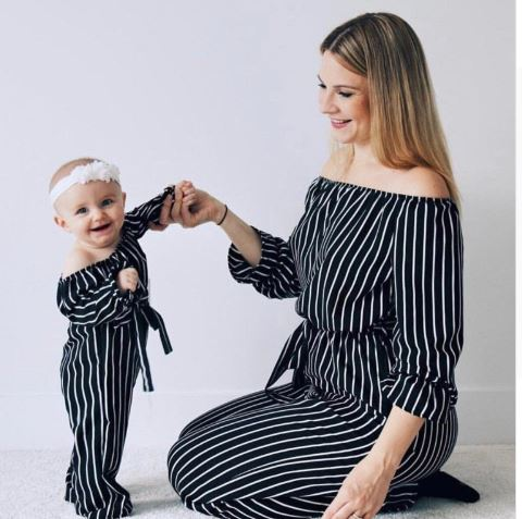 Mother and Daughter Striped Easter Romper Set 1