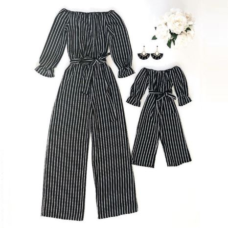 Mother and Daughter Striped Easter Romper Set 2