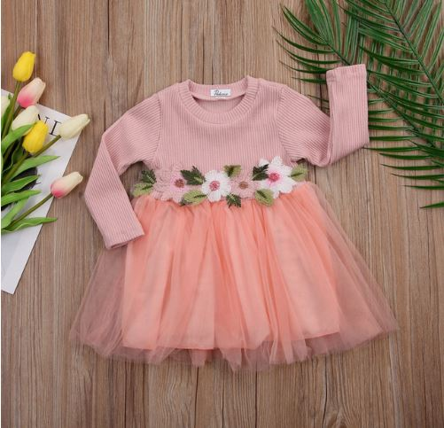 Trendy Floral Belt Easter Dress for Infant 1