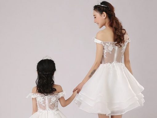 Off-shoulder Mommy and Me Wedding Matching Dress 5