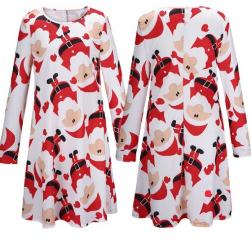 Red Santa Claus Xmas Long Sleeve Dress 2