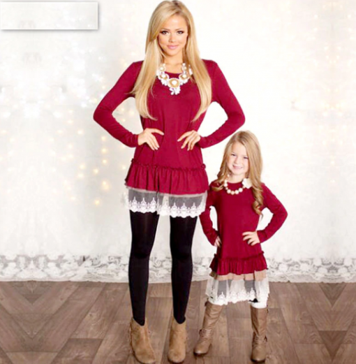Long Sleeves Mother Daughter Matching Christmas Dress [New] 1