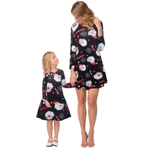 Beautiful Mother Daughter Matching Dress for Christmas - Black