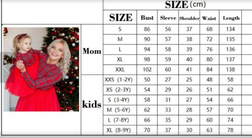 Mommy and Me Christmas Dress Size Chart
